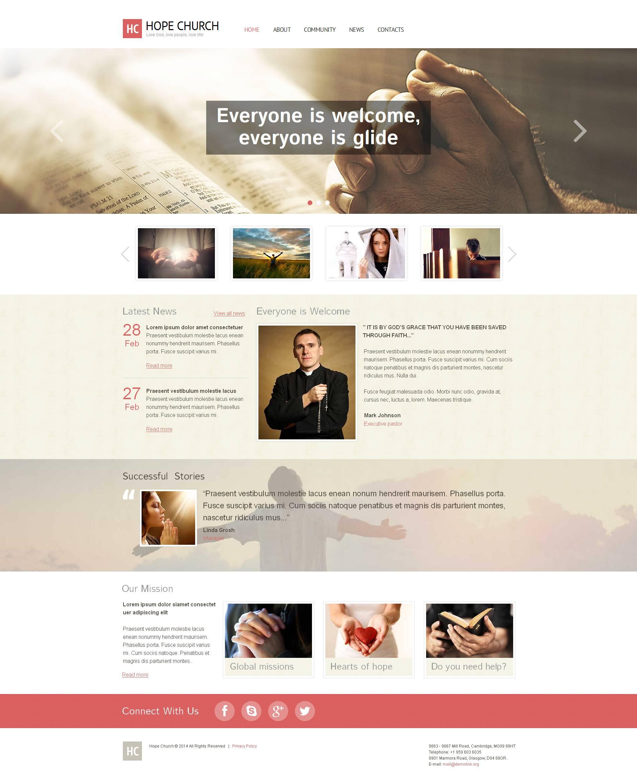 Modèle Moto CMS HTML Premium pour site chrétien #48383