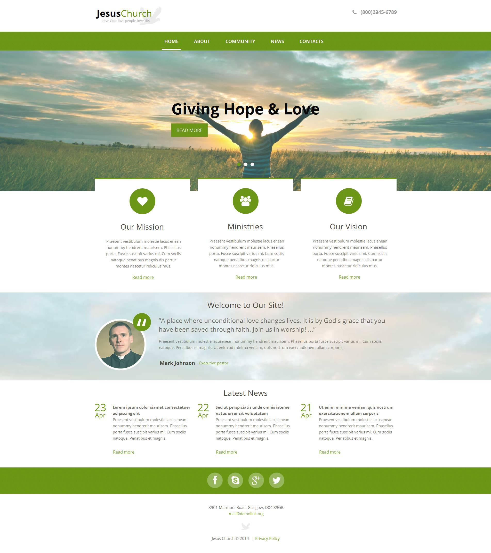 Modèle Moto CMS HTML Premium pour site chrétien #48391
