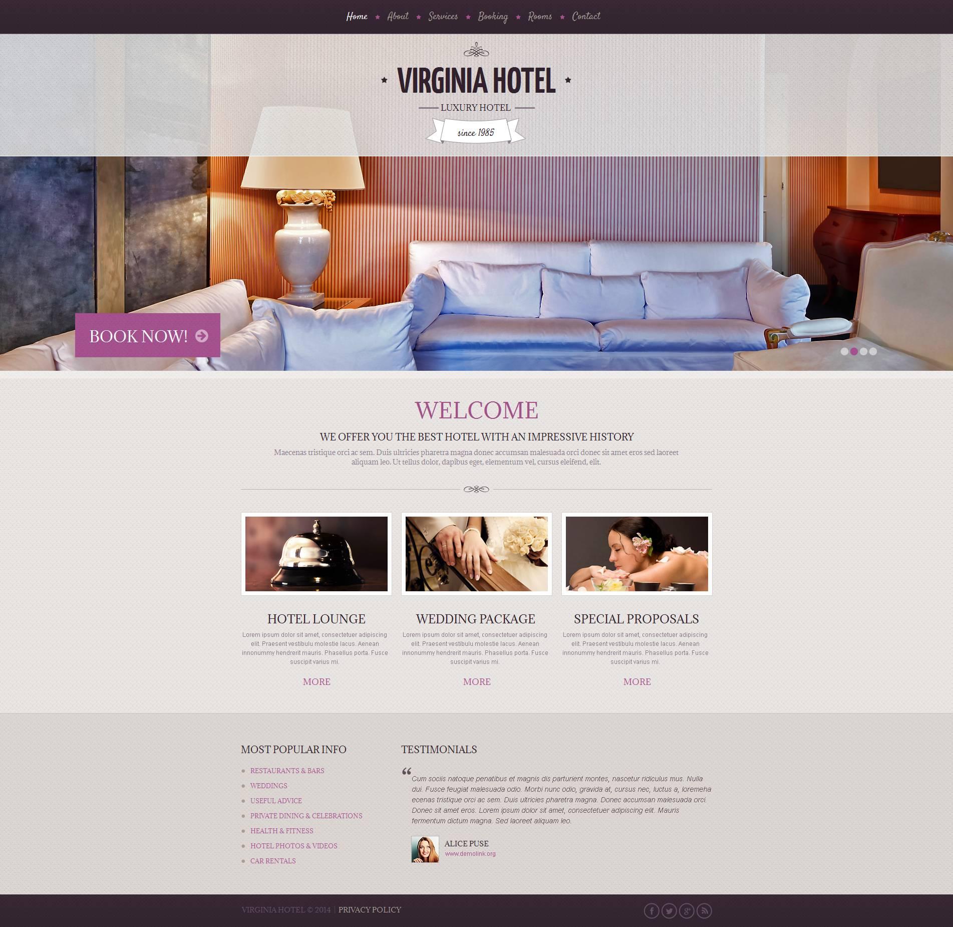 Modèle Moto CMS HTML Premium pour site d'hôtel #48381