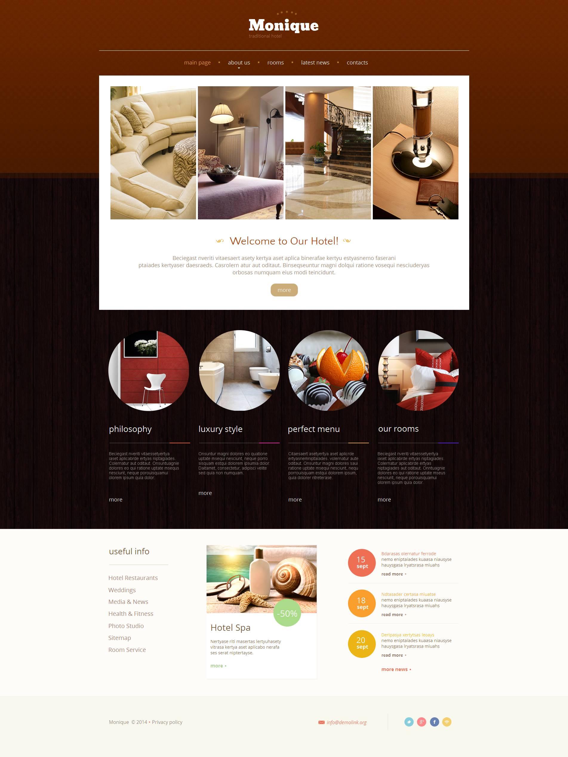 Modèle Moto CMS HTML Premium pour site d'hôtel #48389