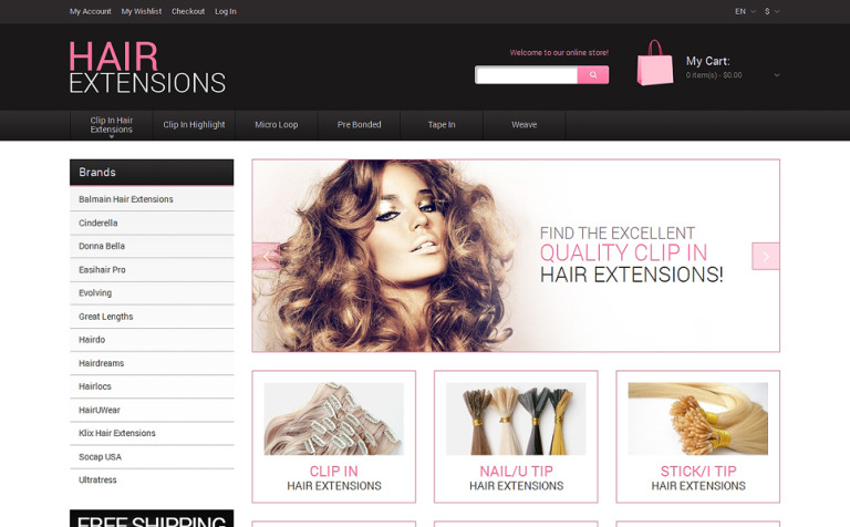 Natural Hair Extensions Magento Theme