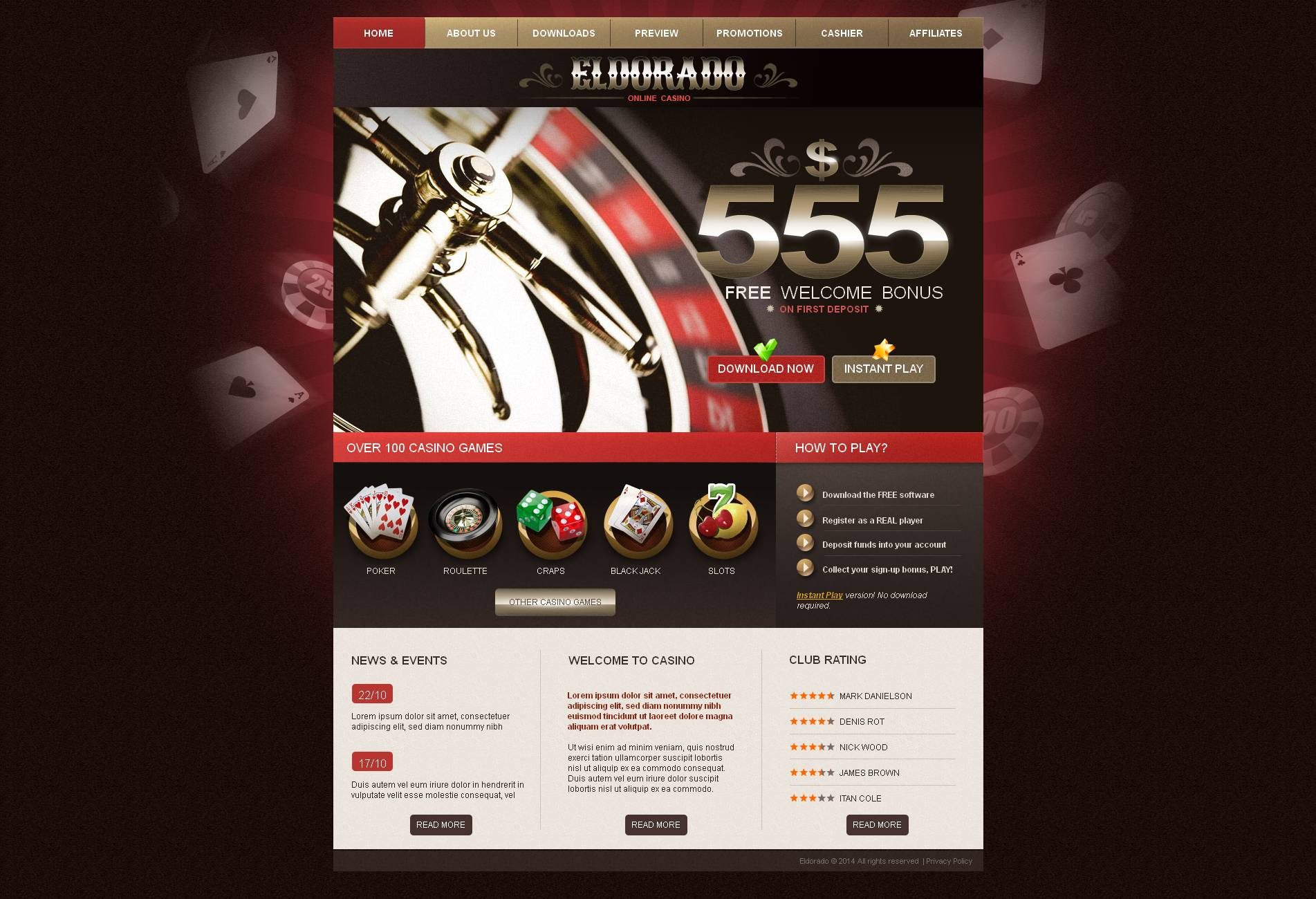 Online Casino Moto CMS HTML Template - screenshot