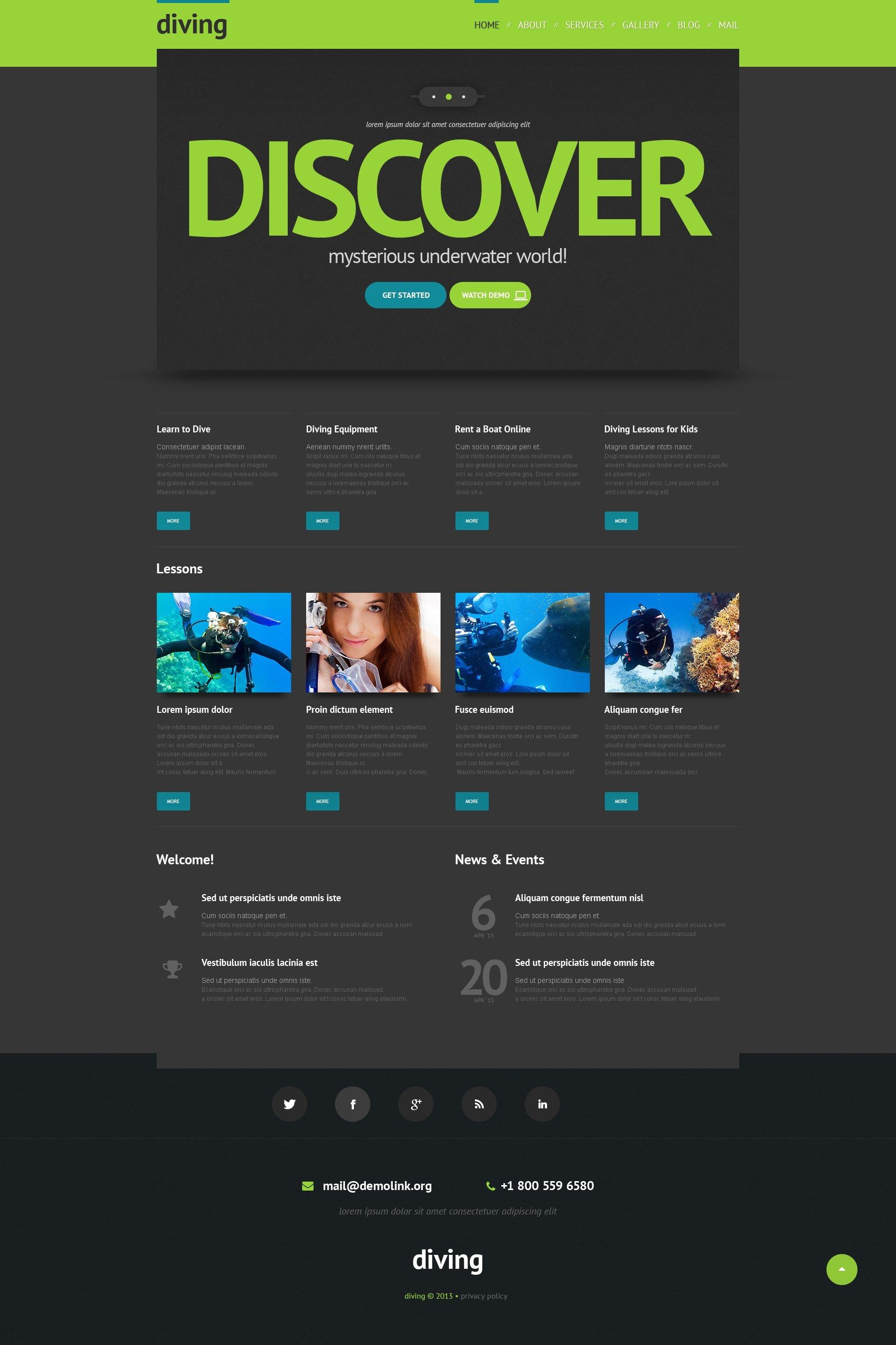 Responzivní WordPress motiv na téma Potápění #48344 - screenshot
