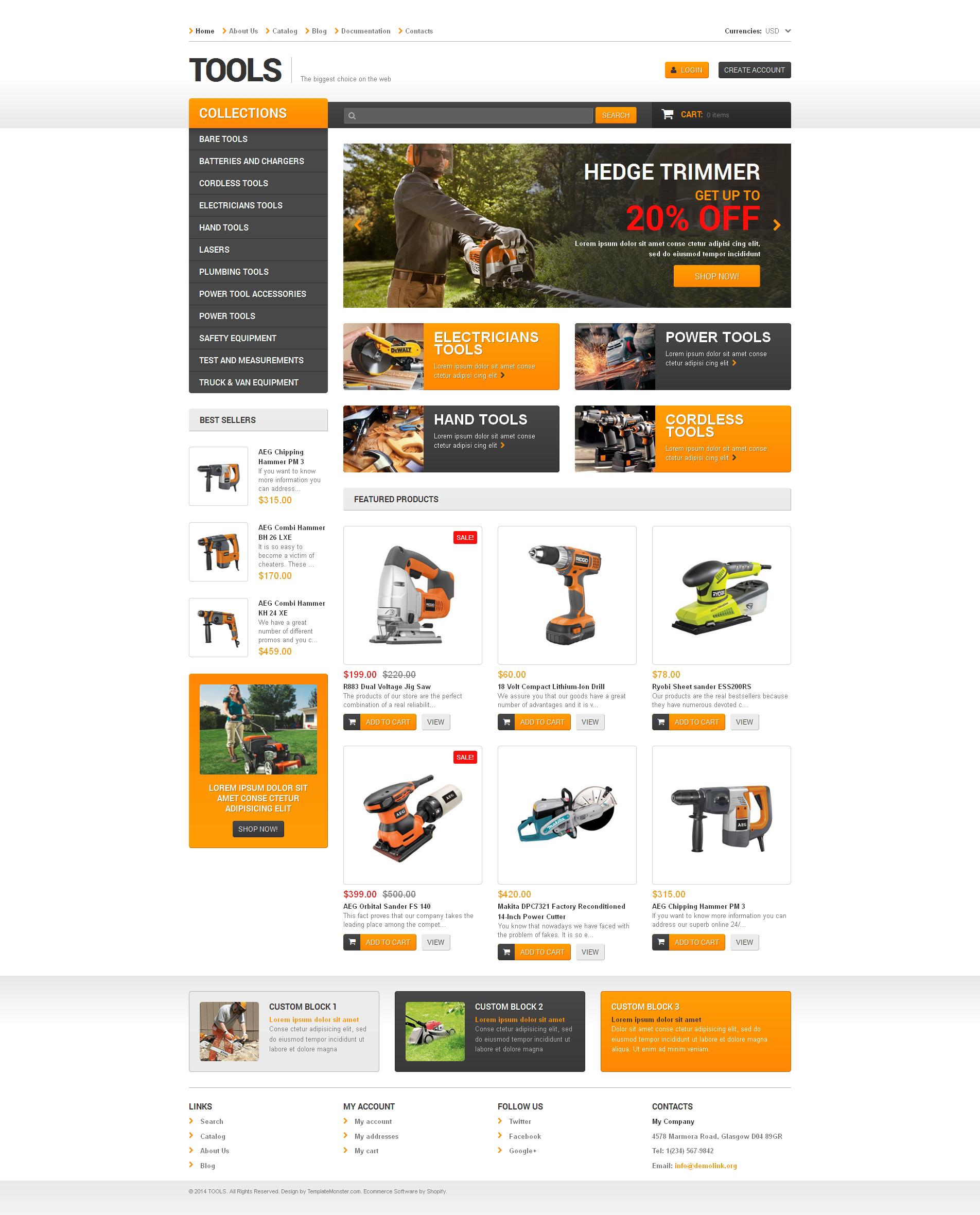 Reszponzív Eszközök és berendezések Shopify sablon 48392