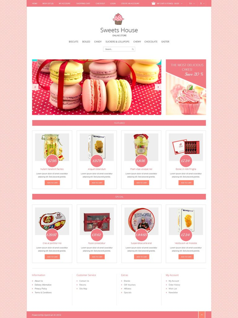 Sweet Shop Responsive OpenCart Template New Screenshots BIG