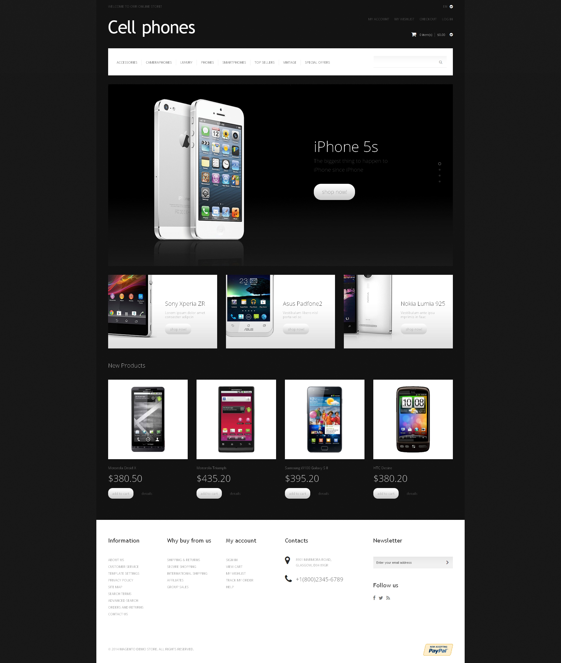 "Tema Magento Responsive #48336 ""Cell Phones"""