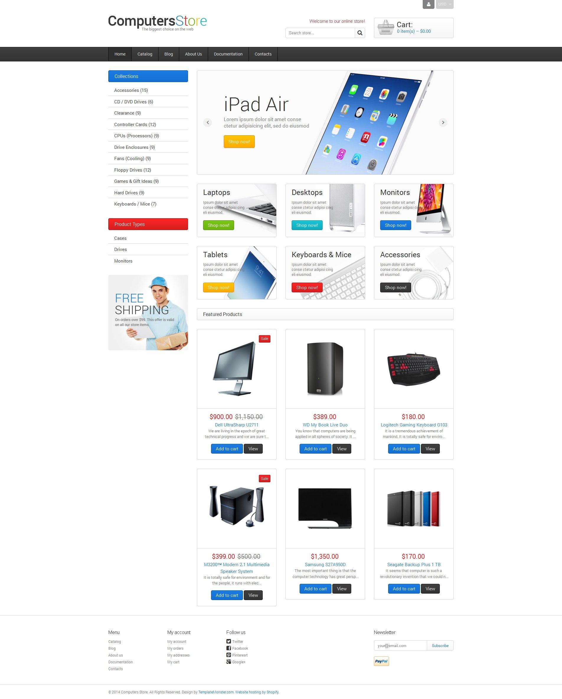 Tema Shopify Responsive para Sitio de Tienda de Ordenadores #48357