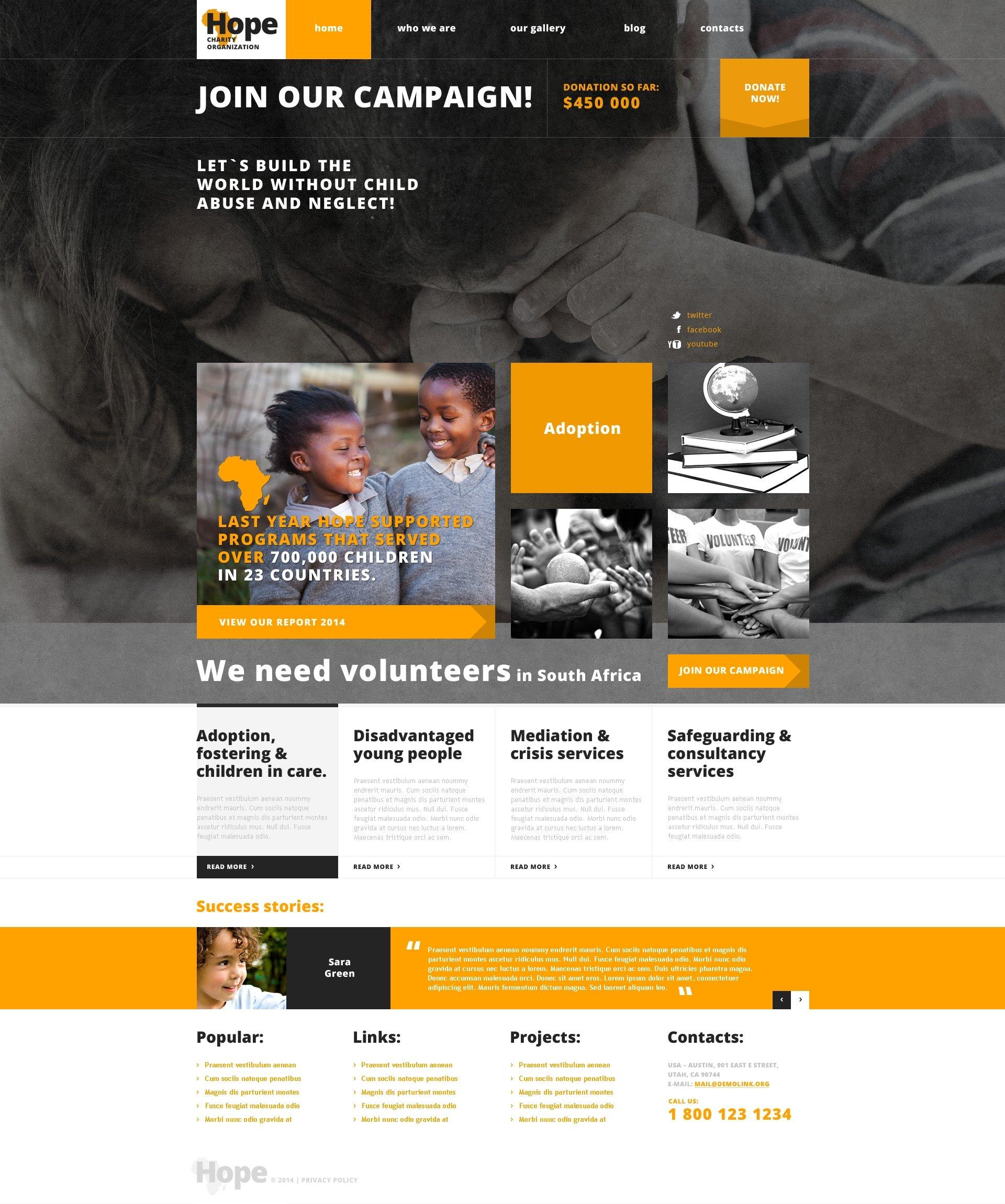 Tema WordPress Flexível para Sites de Caridade №48301