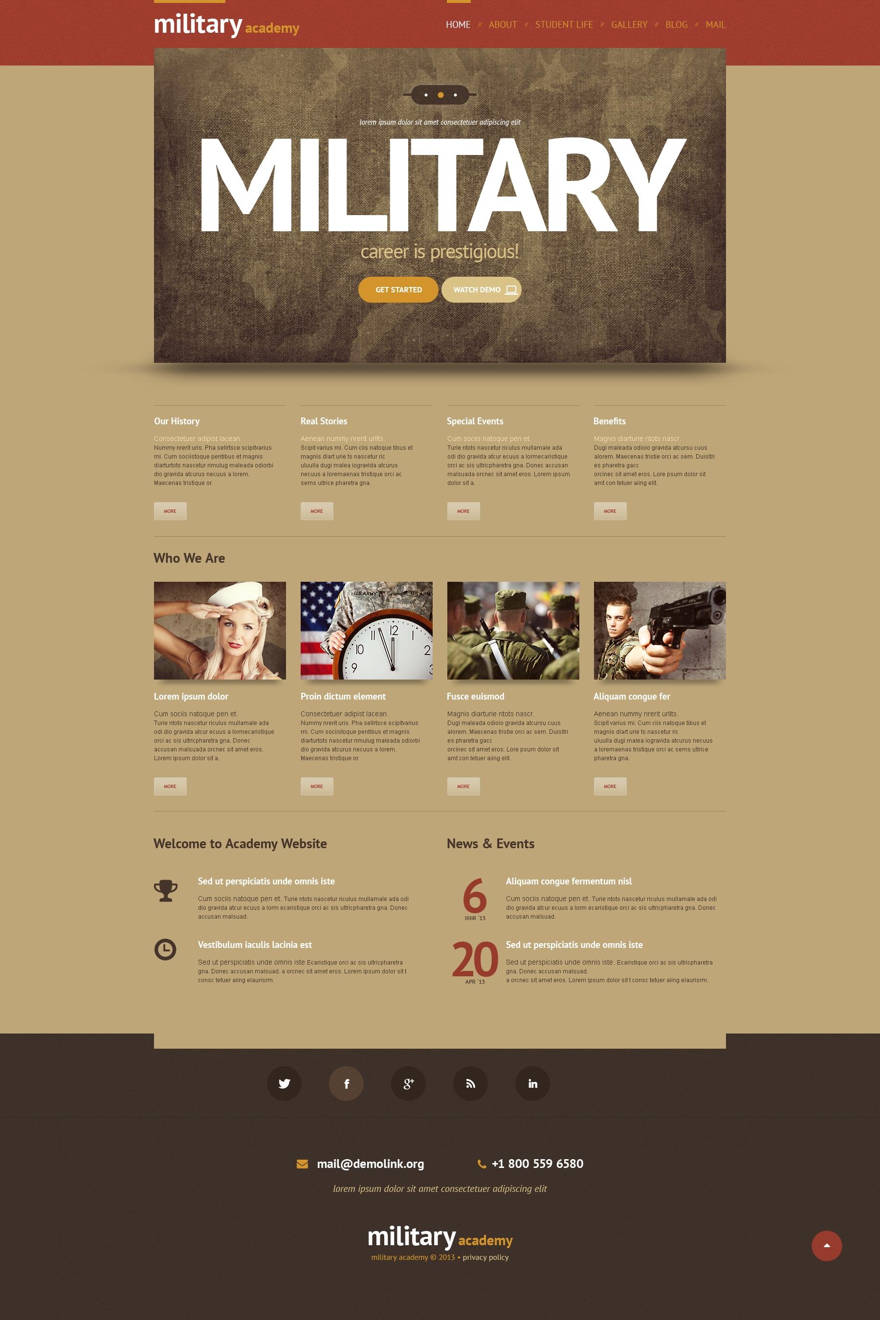 Tema WordPress Flexível para Sites de Exercito №48345
