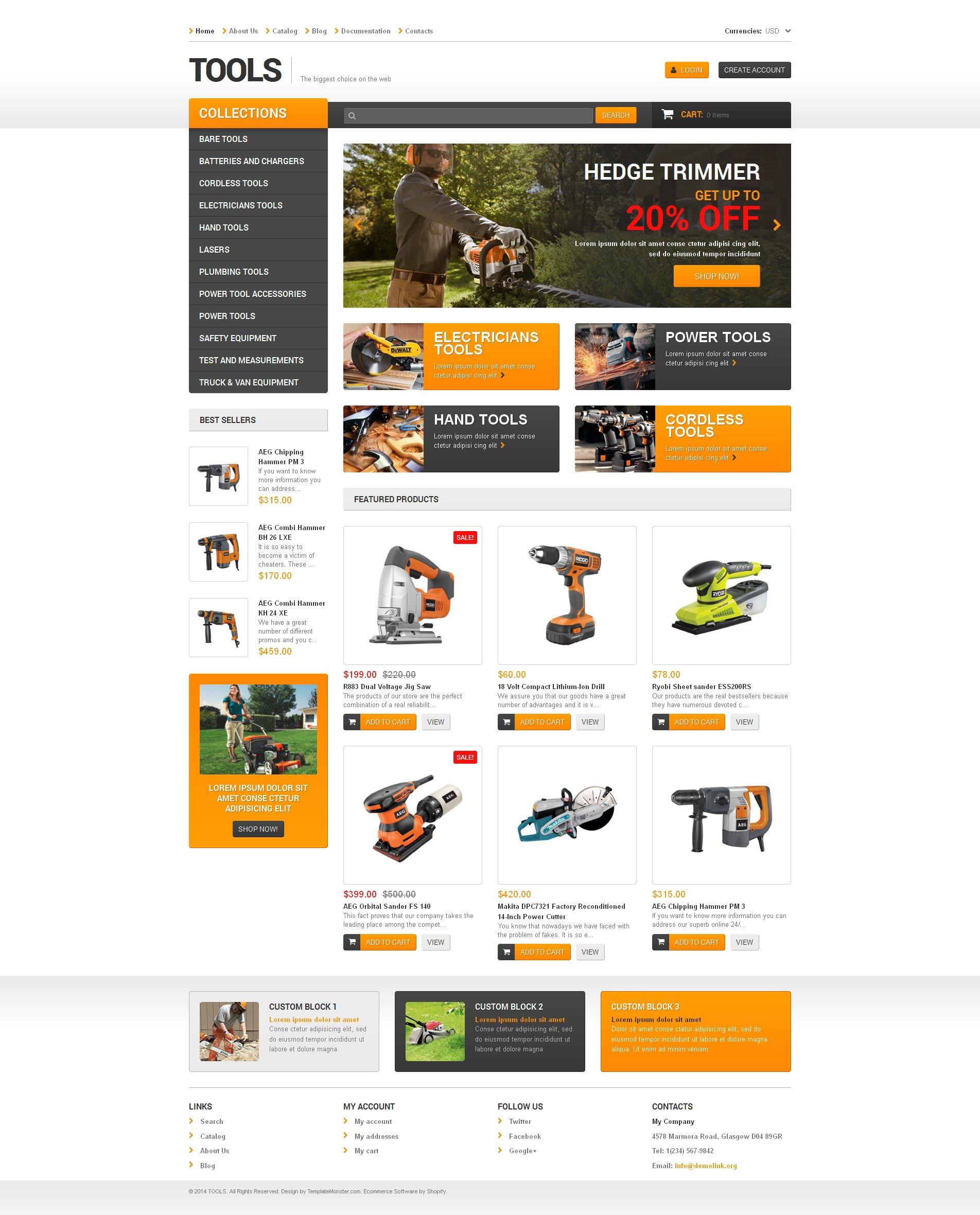 Thème Shopify adaptatif pour site d'outils et d'équipement #48392
