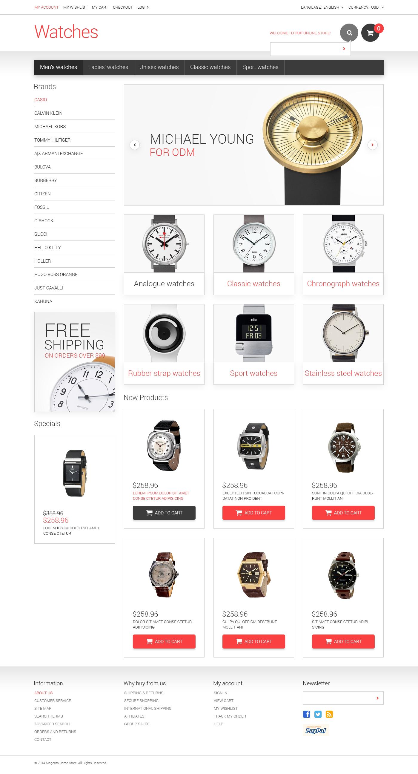 Watches Responsive Magento Theme