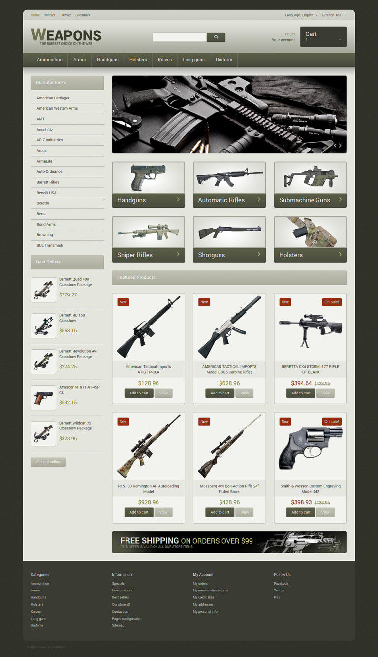 Weapons of All Calibres PrestaShop Theme New Screenshots BIG
