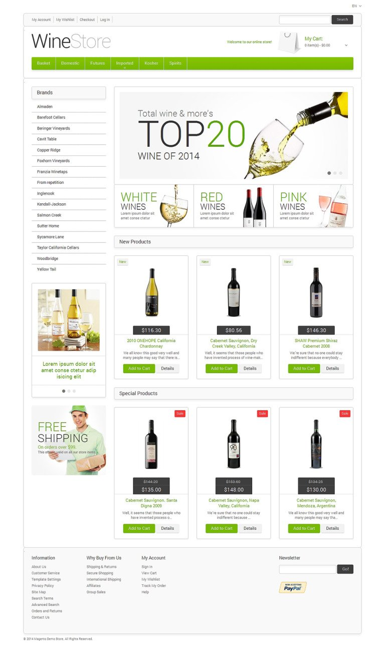 Wine for Your Delight Magento Theme New Screenshots BIG