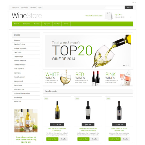 Wine Store - Responsive Magento Template
