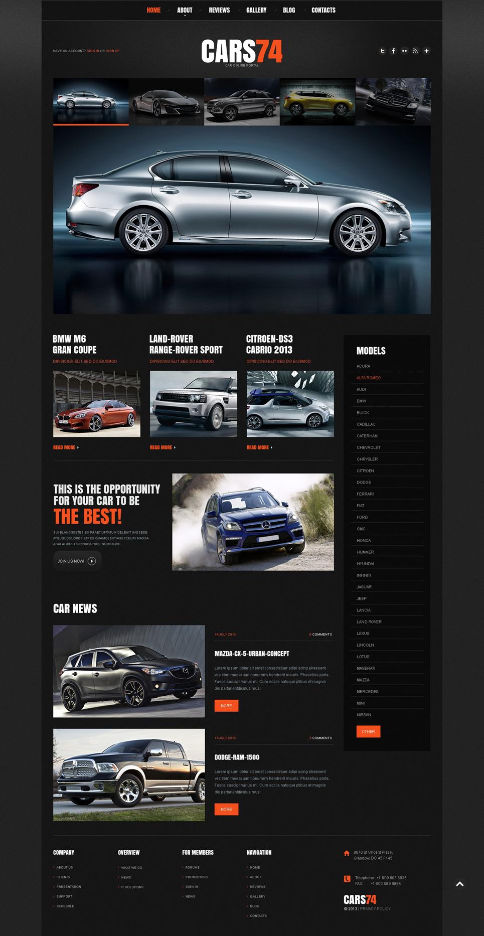 Шаблон сайта на тему автодилер #48304