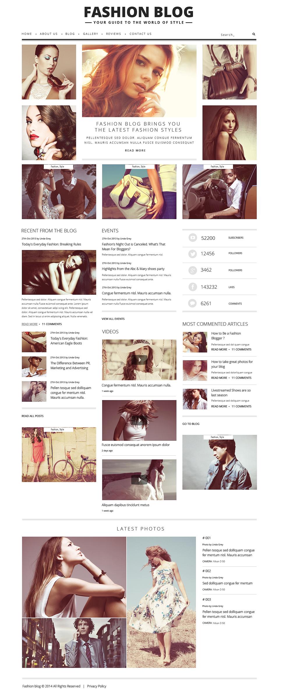 Шаблон сайта на тему блог о моде #48361