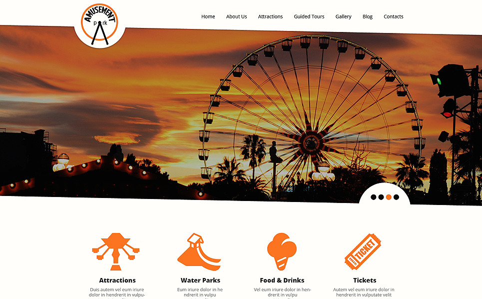Responsive Website template over Pretpark  New Screenshots BIG