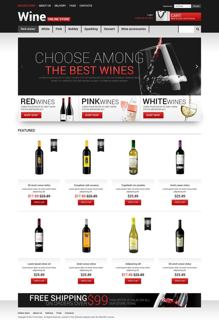 A Glass of Wine VirtueMart Template New Screenshots BIG