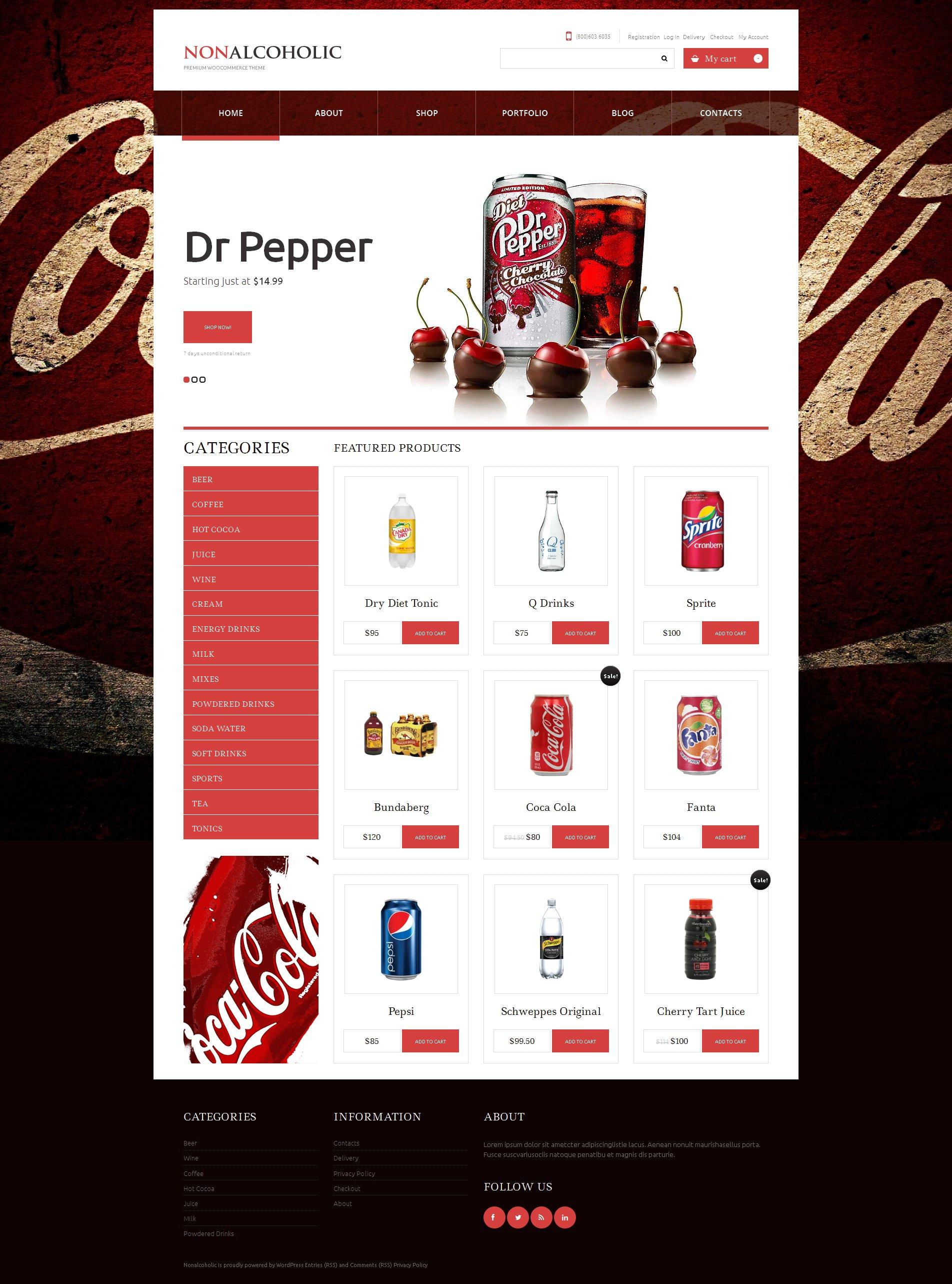 Адаптивний WooCommerce шаблон на тему їжа та напої №48401