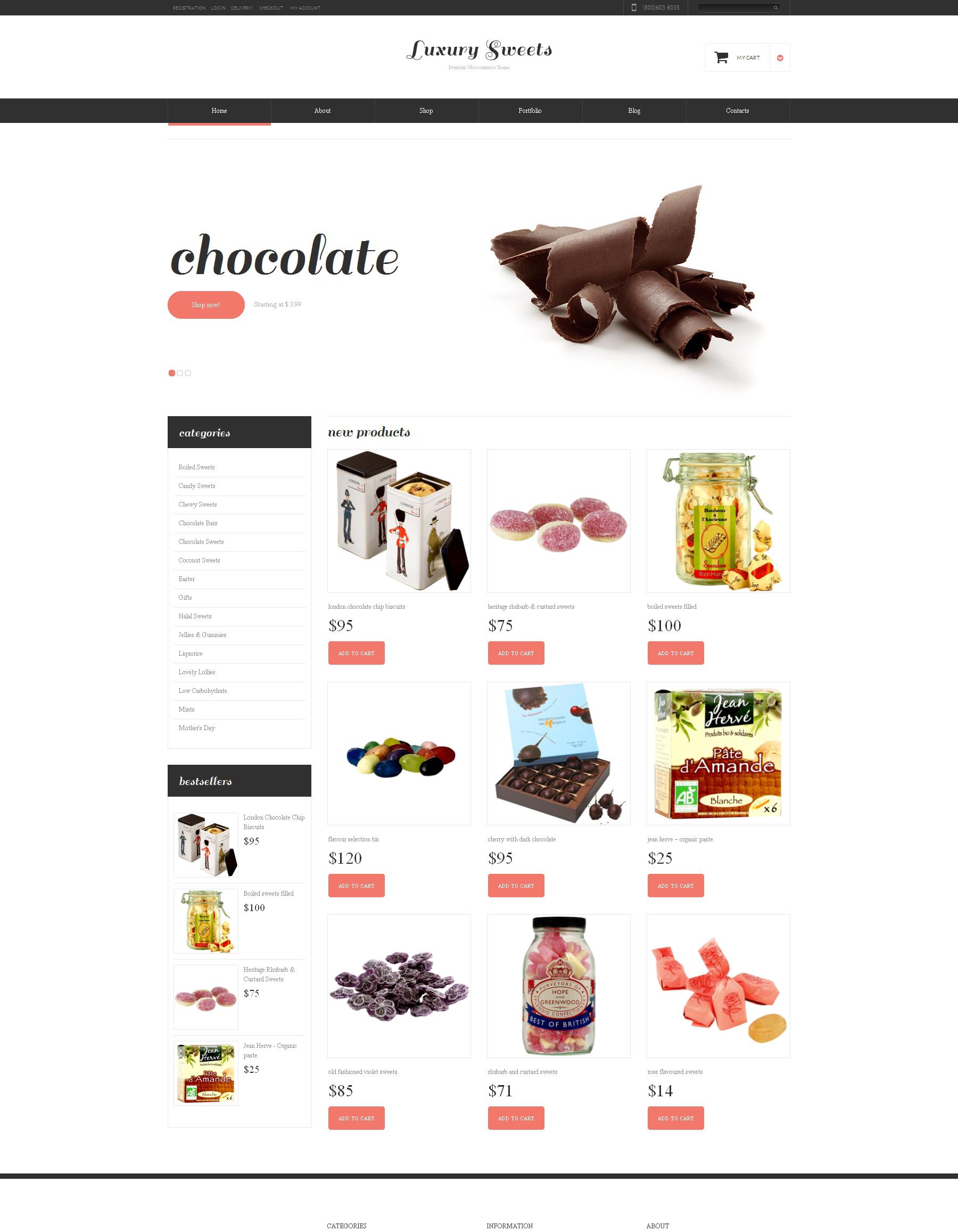 Адаптивний WooCommerce шаблон на тему магазин солодощів №48449 - скріншот