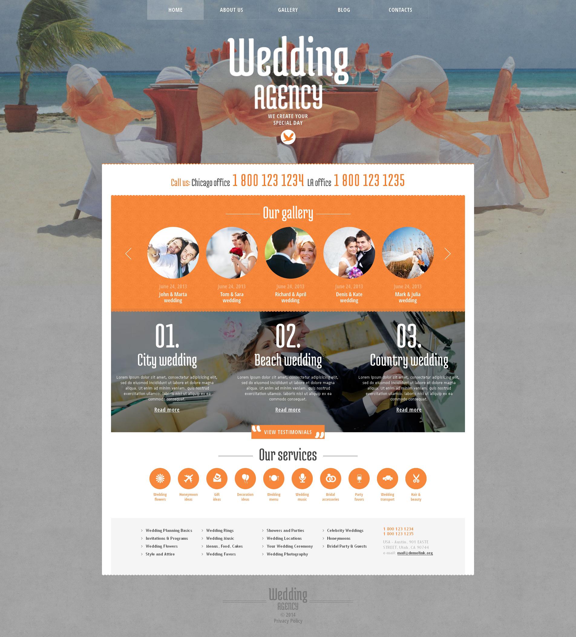 Адаптивний WordPress шаблон на тему організатор весілля №48420