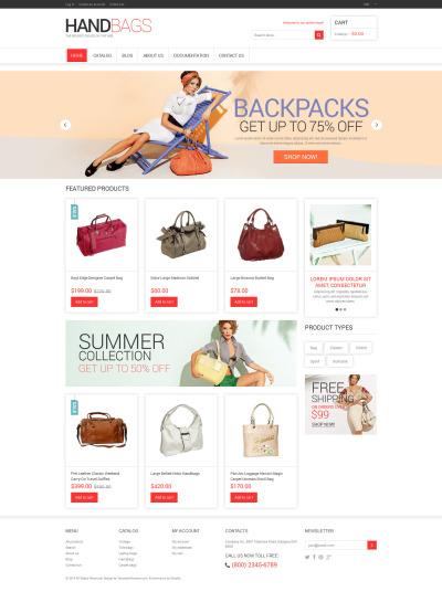 Адаптивный Shopify шаблон №48457 на тему магазин сумок