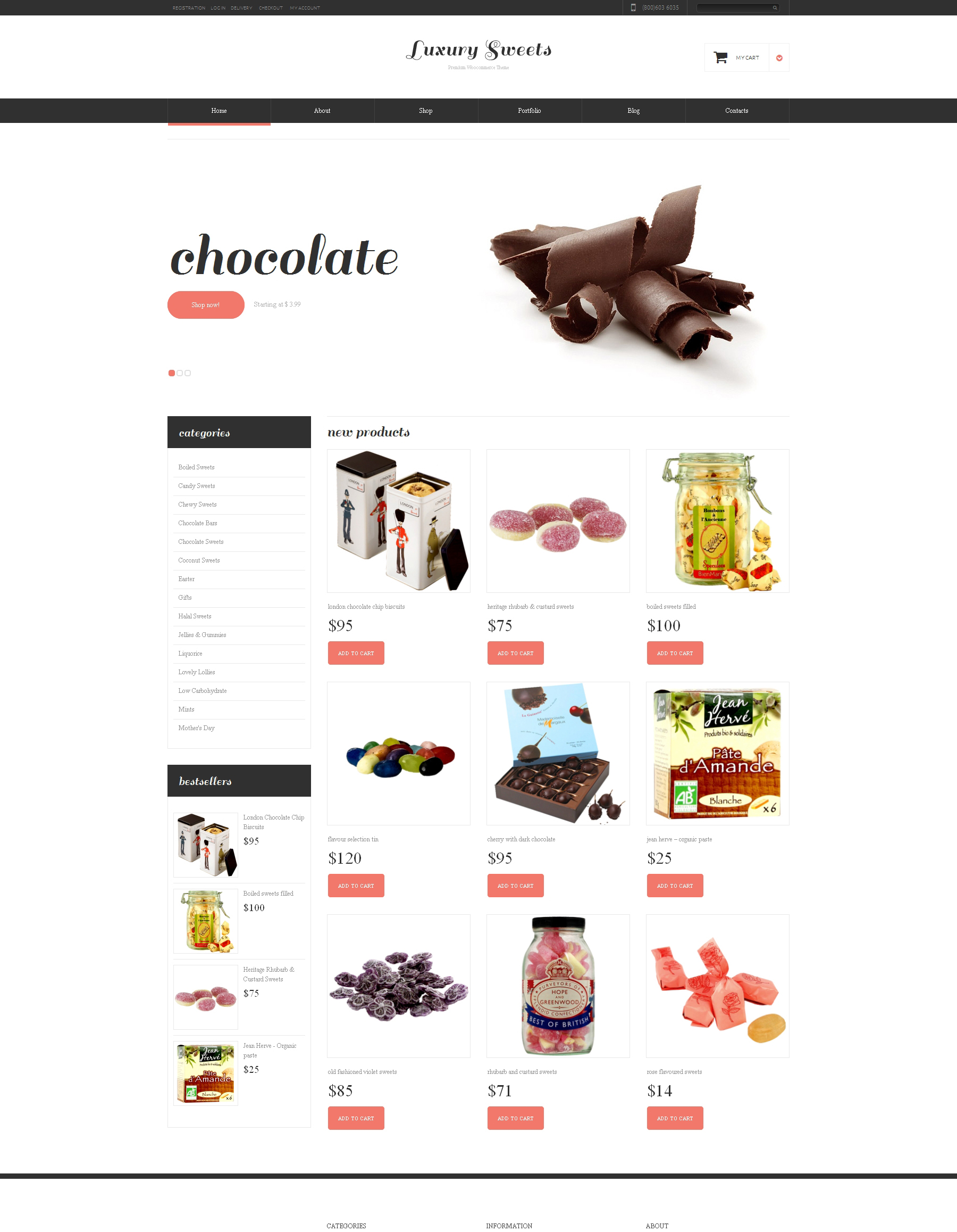 Адаптивный WooCommerce шаблон №48449 на тему магазин сладостей - скриншот