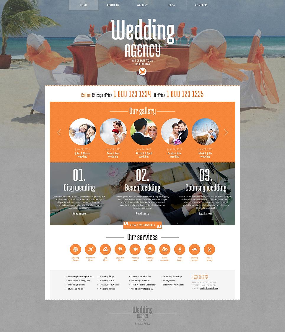 Адаптивный шаблон сайта на тему организация свадьбы #48420