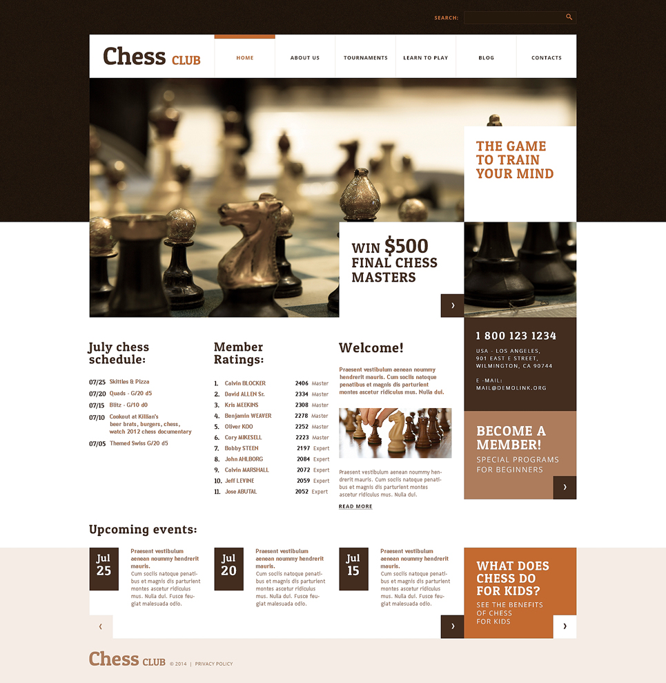 Адаптивный шаблон сайта на тему шахматы #48426