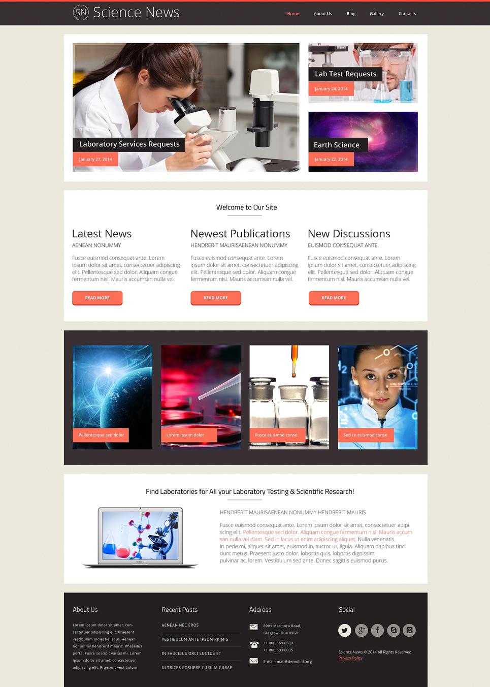 Адаптивный шаблон сайта на тему научная лаборатория #48471