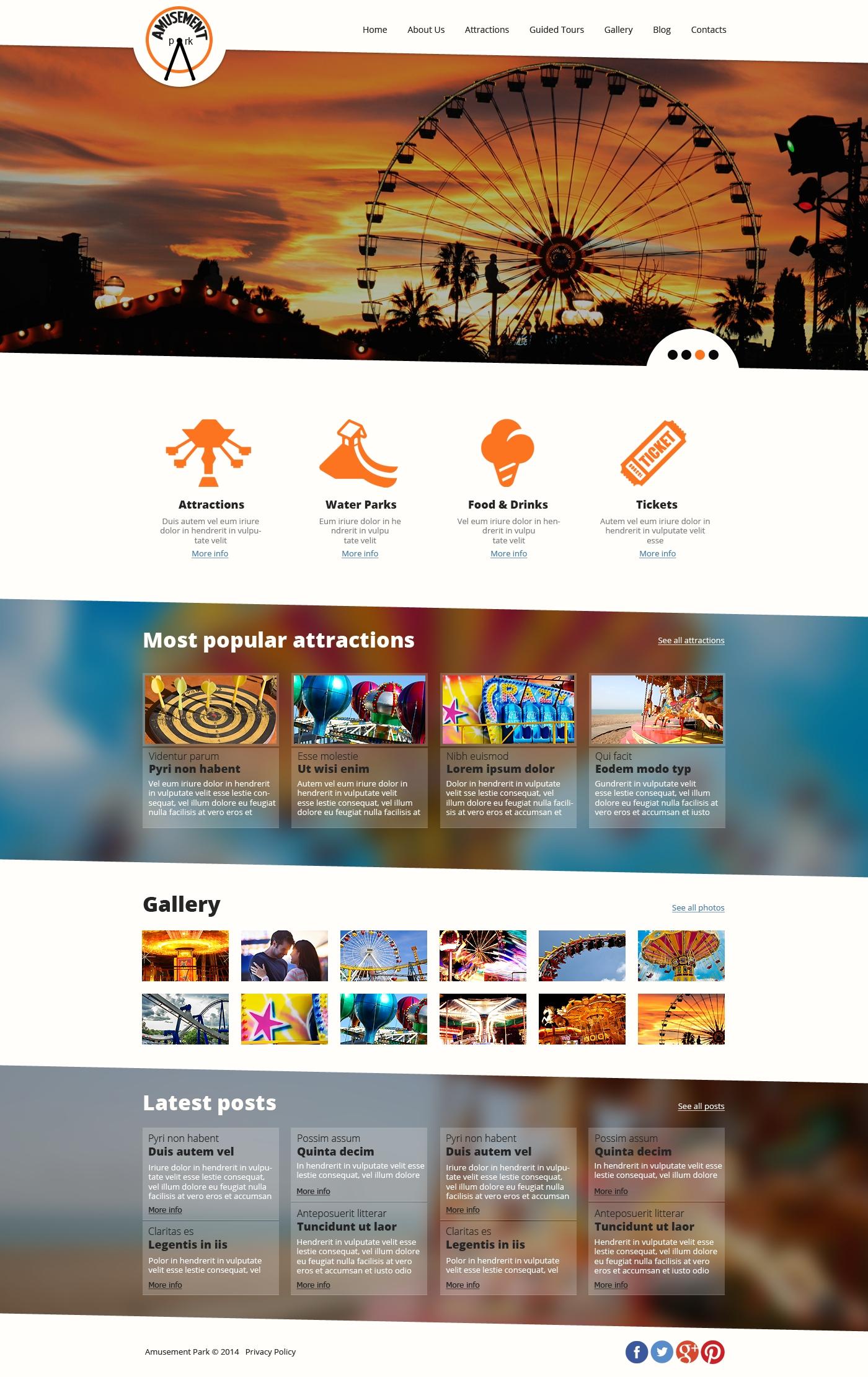 Water park website template amusement park toneelgroepblik Image collections