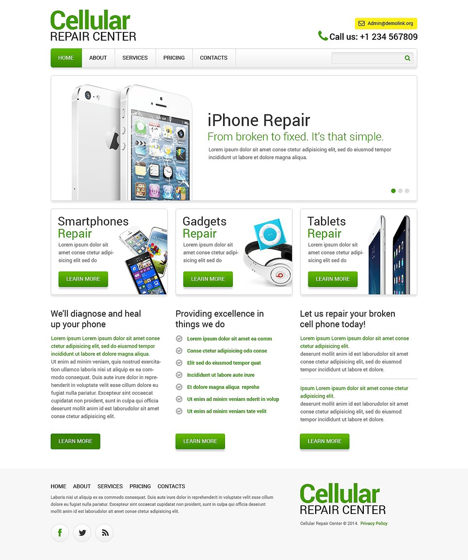computer repair responsive website template 48444