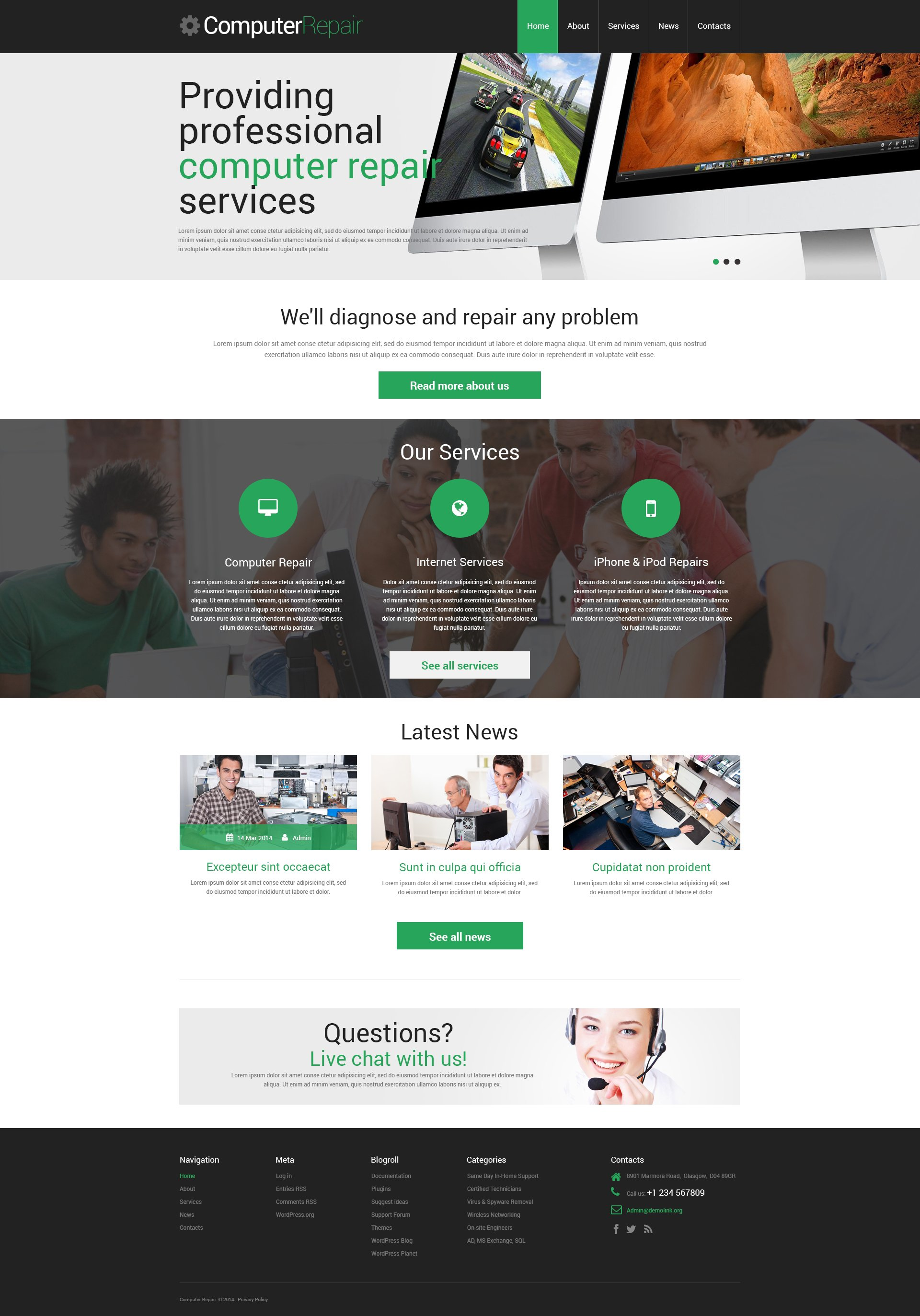 computer repair responsive wordpress theme