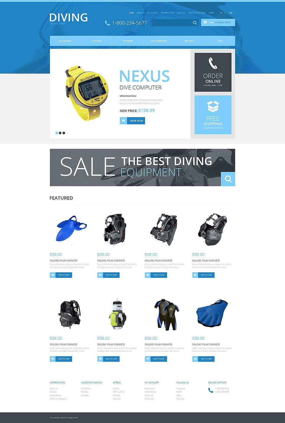 Diving Responsive OpenCart Template New Screenshots BIG
