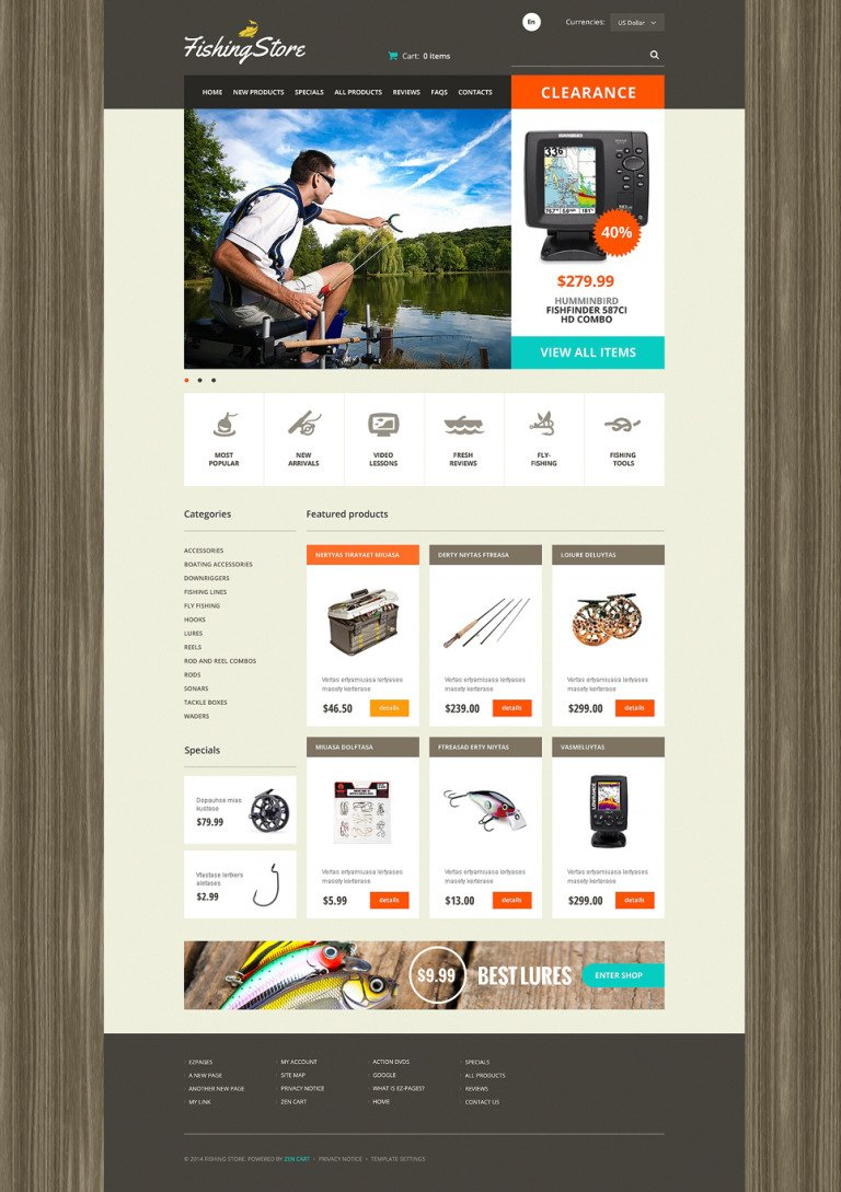 Fisherman ZenCart Template New Screenshots BIG