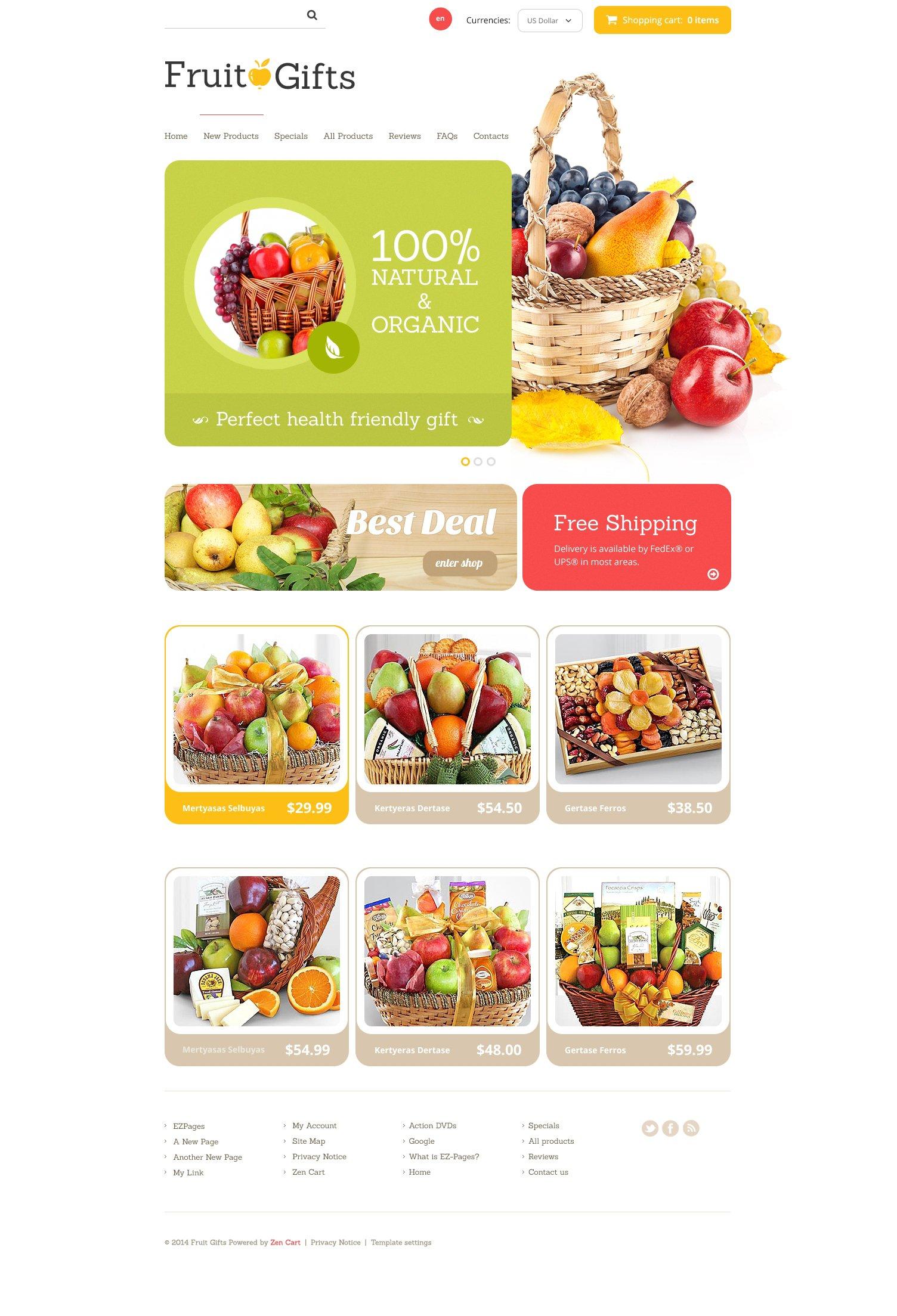 """Fruit Gifts"" - ZenCart шаблон №48442"