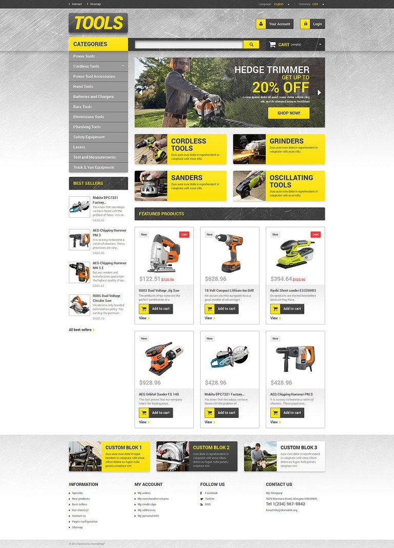 Get Tools Online PrestaShop Theme New Screenshots BIG