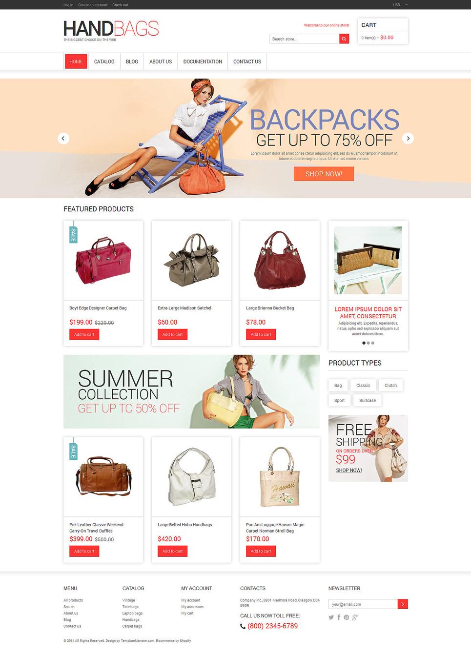 Handbag Responsive Shopify Theme #48457