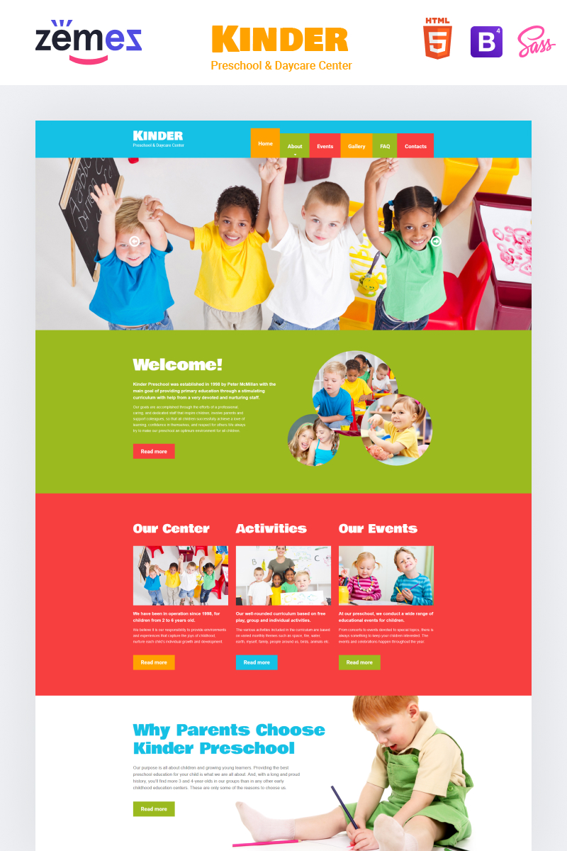 """Kinder - Primary School Creative HTML"" Responsive Website template №48443"