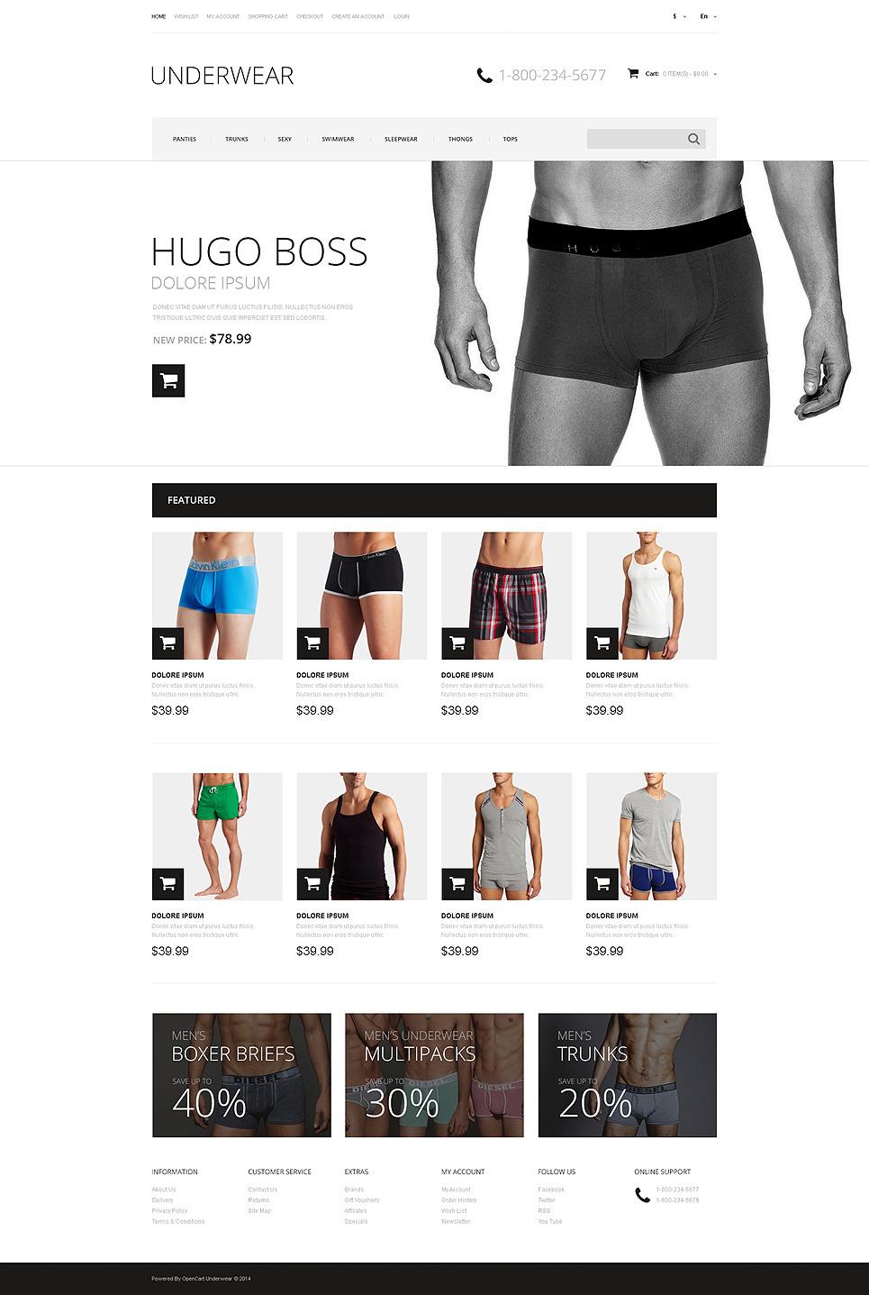 Men's Underwear Responsive OpenCart Template New Screenshots BIG
