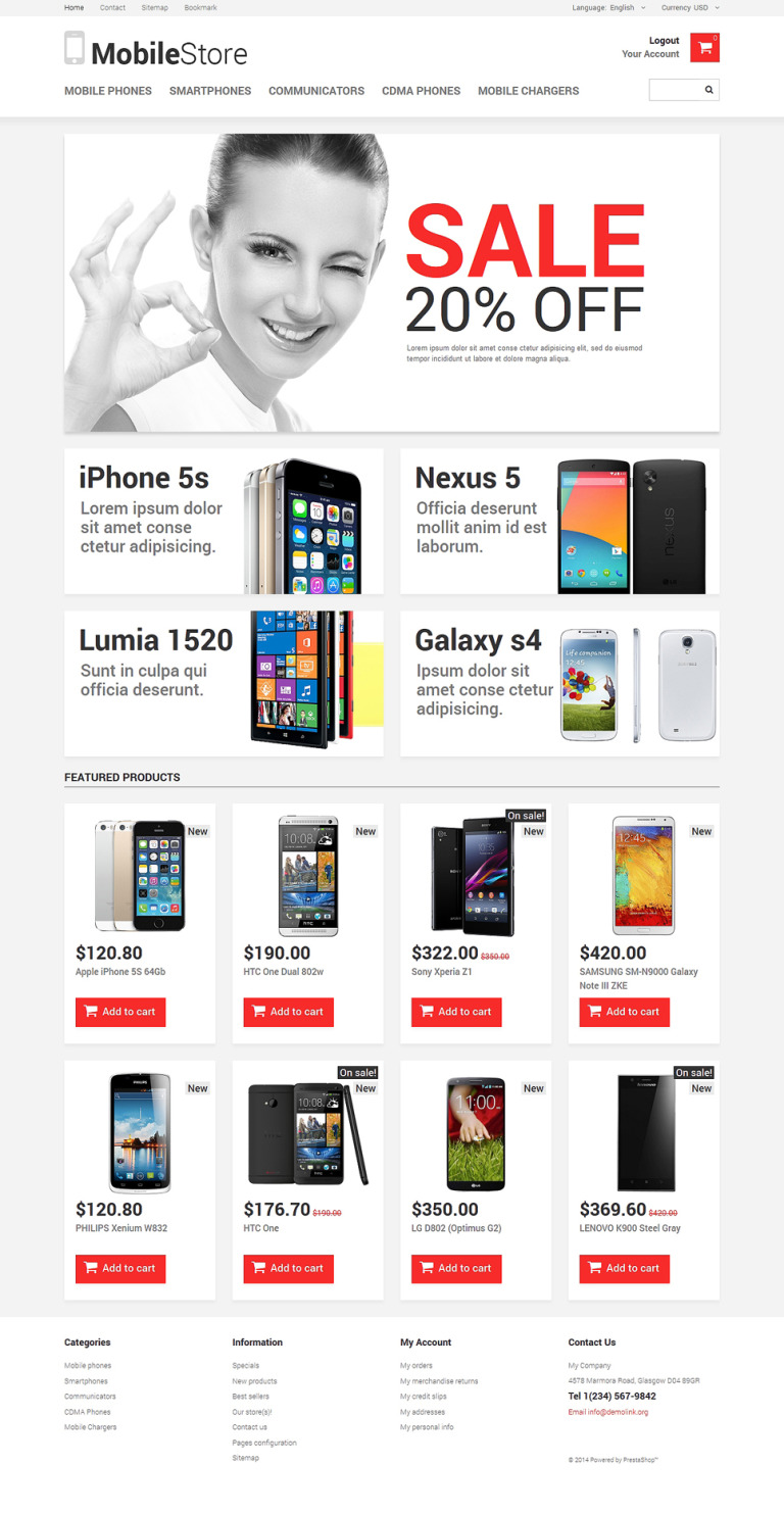 Mobile Phones PrestaShop Theme New Screenshots BIG