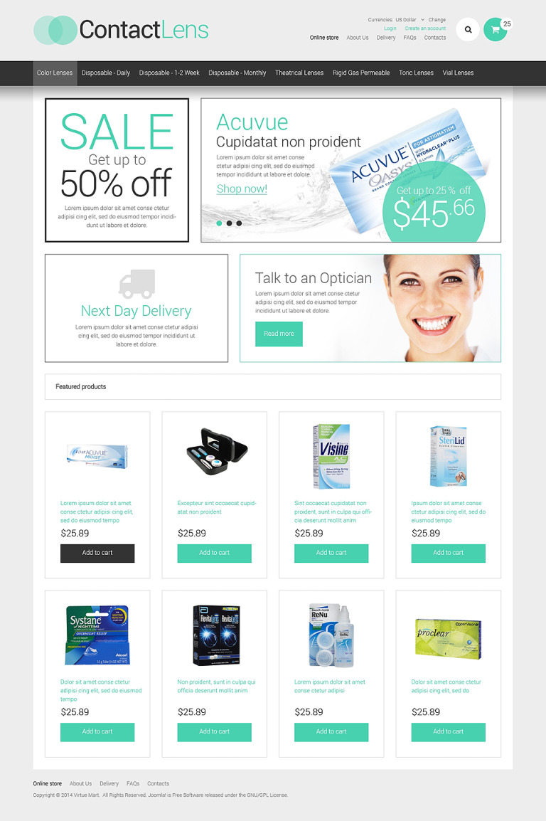 Optometrist's VirtueMart Template New Screenshots BIG