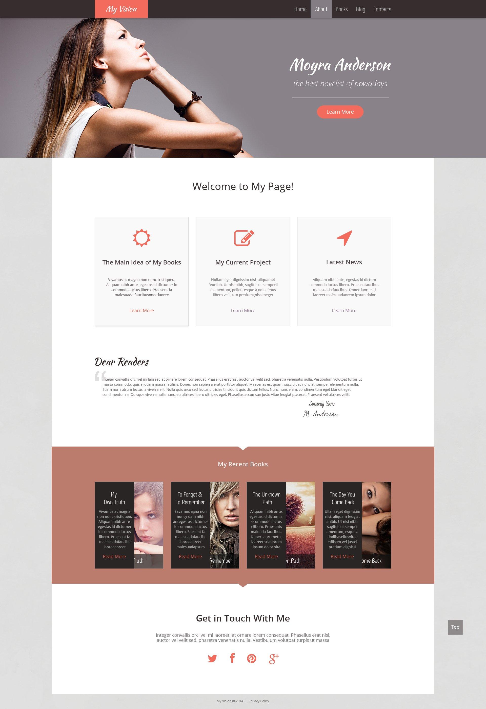 Personal Page Responsive WordPress Theme - screenshot