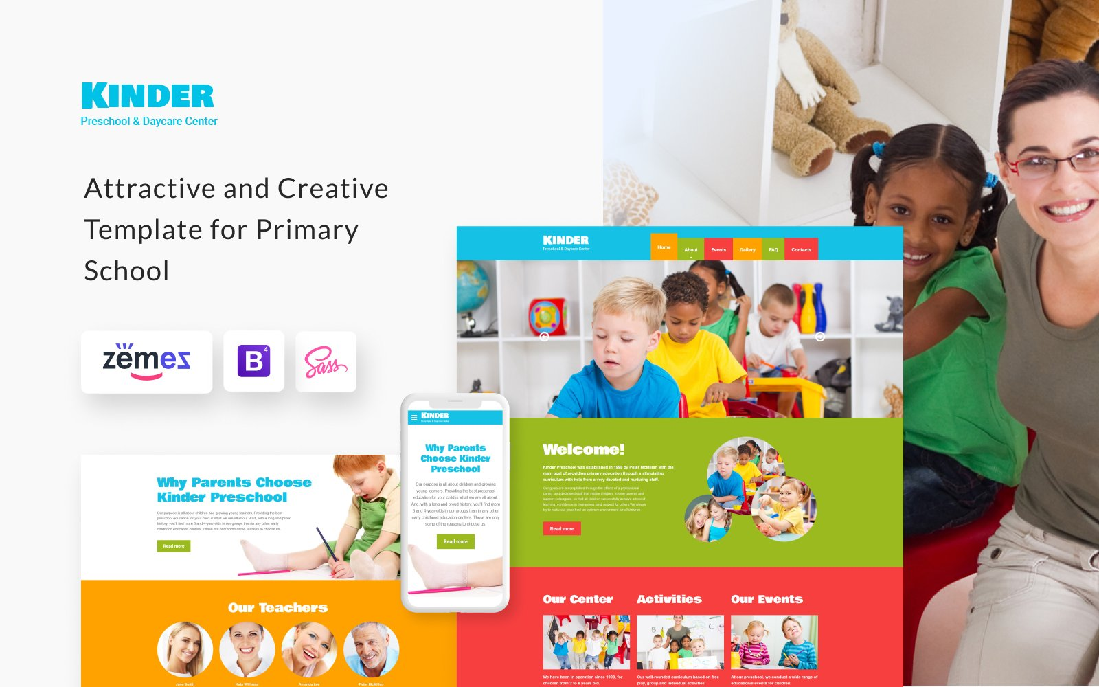 "Plantilla Web ""Kinder - Primary School Creative HTML"" #48443"