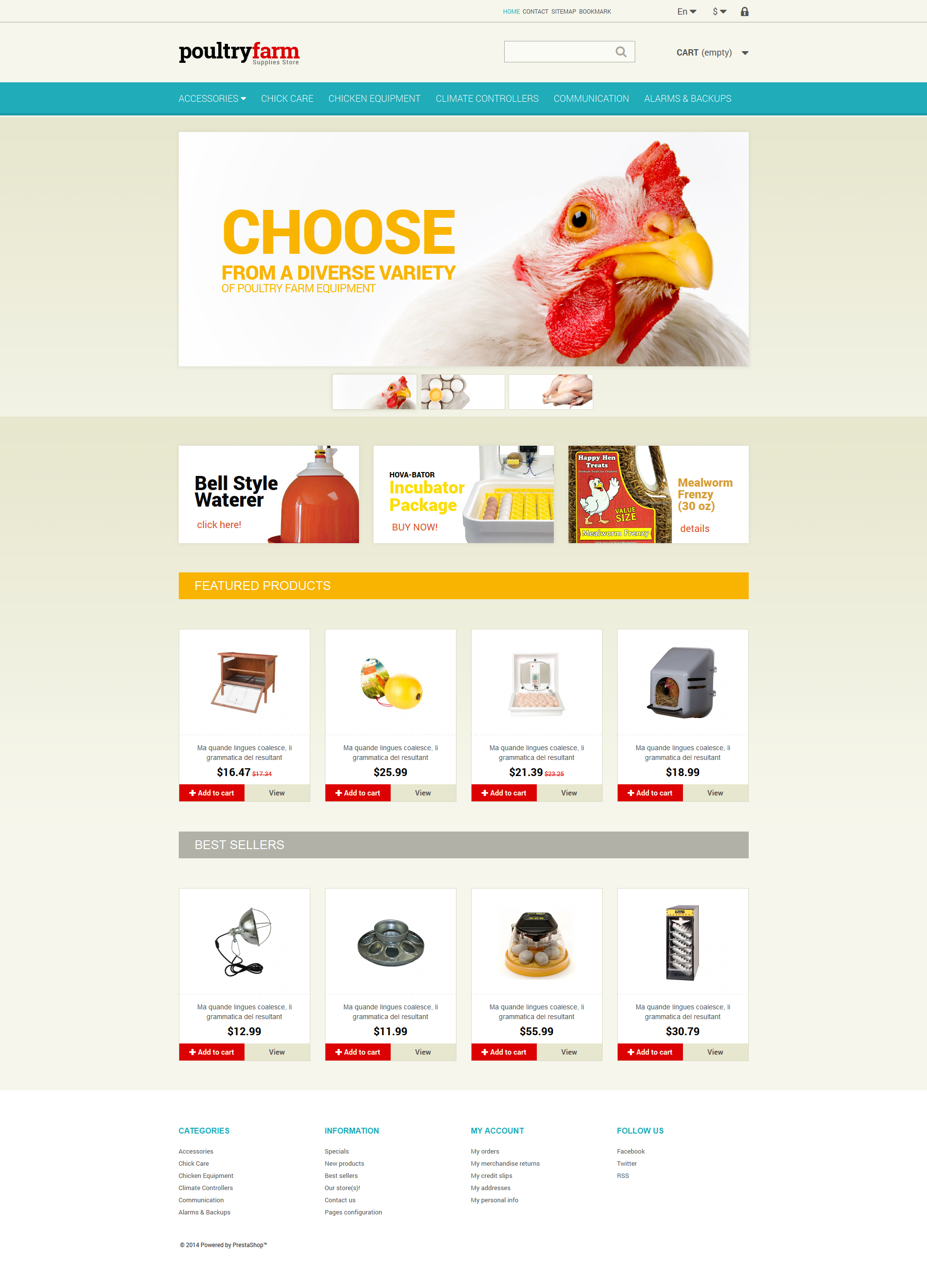 Poultry farm website template #25106.