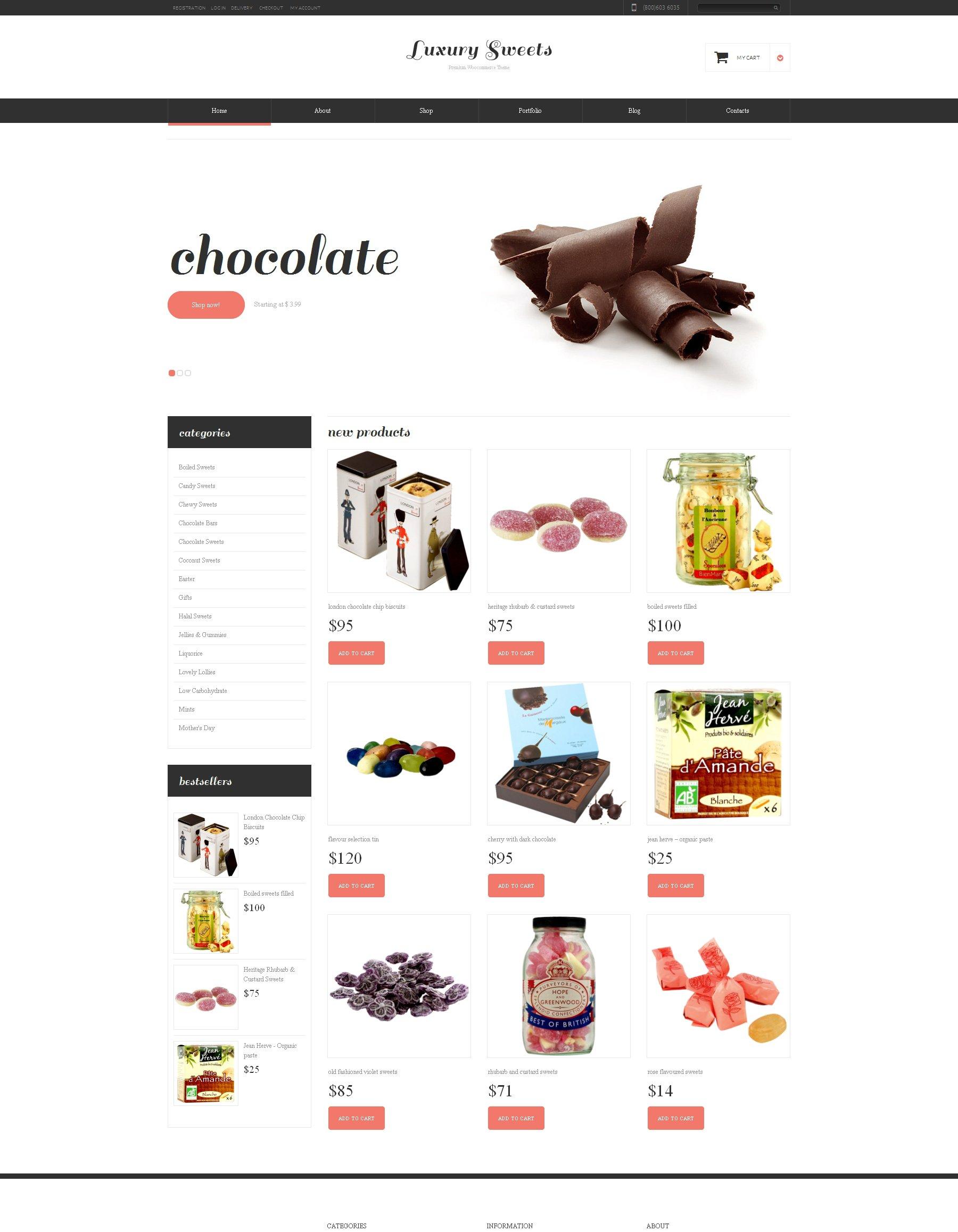 Responzivní WooCommerce motiv na téma Sweet Shop Templates #48449 - screenshot