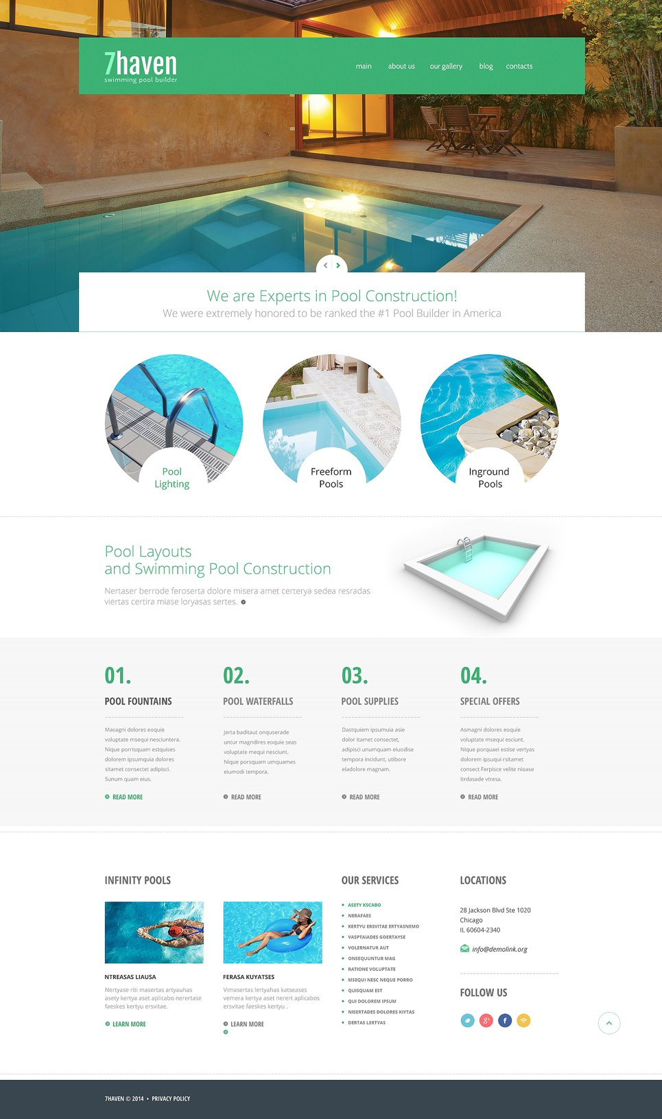 Swimming pool builder joomla template 48436 for Pool design education