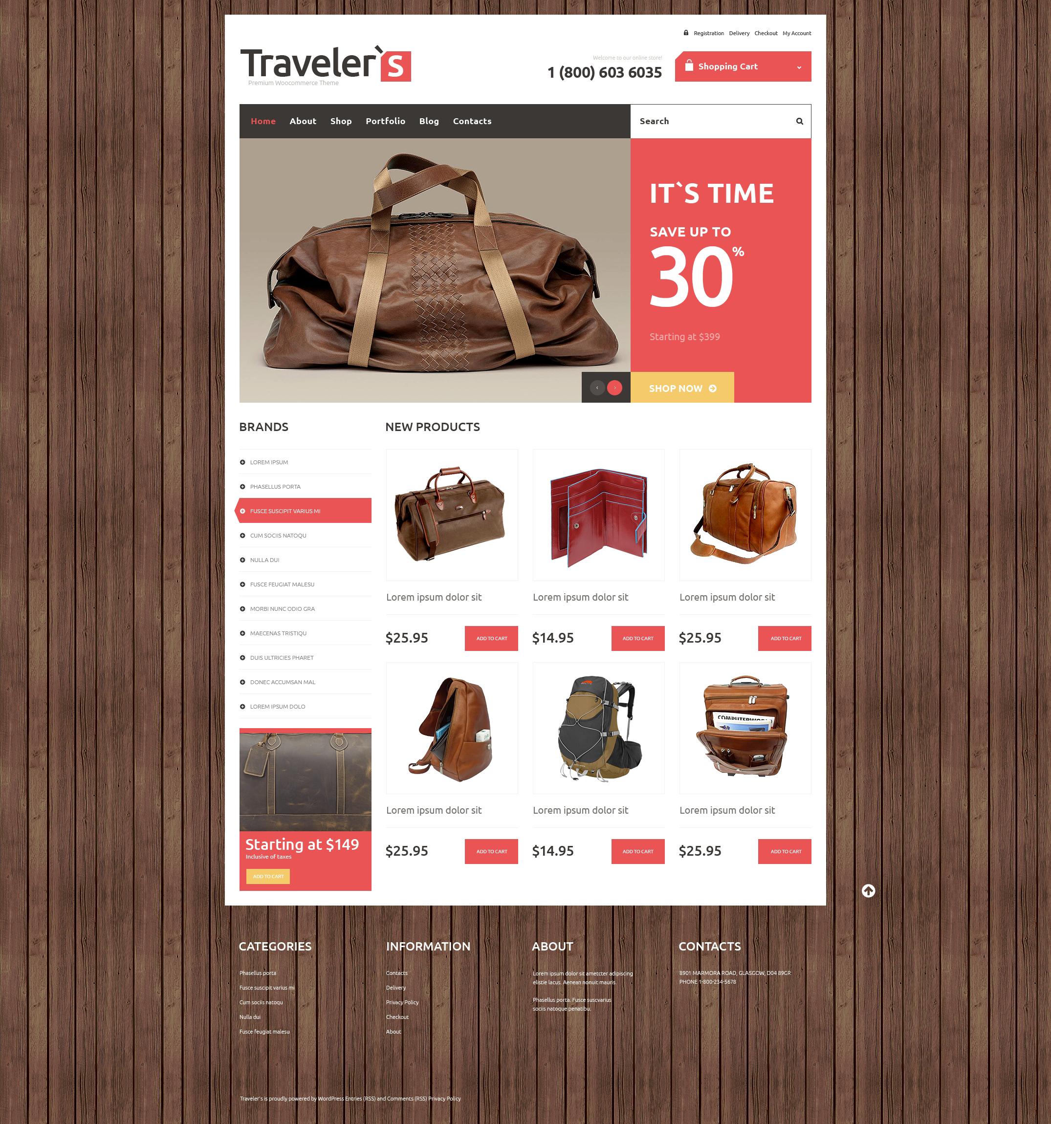 Tema WooCommerce Responsive #48450 per Un Sito di Negozio di Turismo
