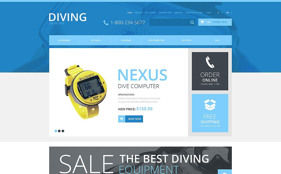 Template OpenCart Responsive #48412 per Un Sito di Diving New Screenshots BIG