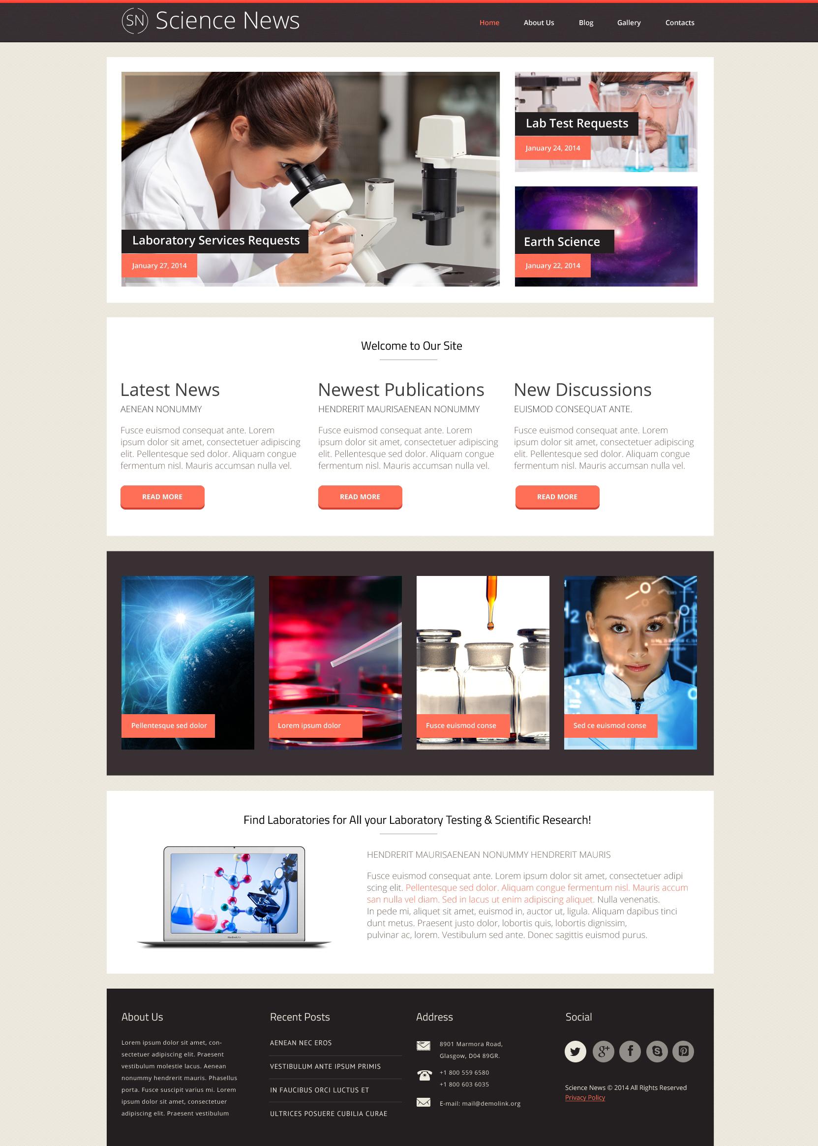 Thème WordPress adaptatif pour site de laboratoire de science #48471